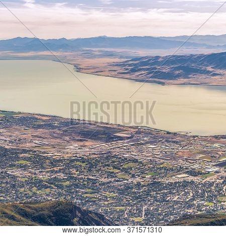 Square Panorama Of Utah Lake And Utah Valley