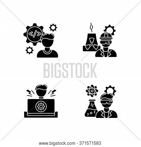 Engineer Profession Black Glyph Icons Set On White Space. Computer Software Developer. Nuclear Produ