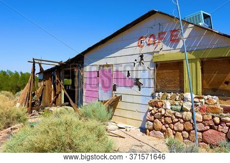 June 11, 2020 In Olancha, Ca:  Abandoned Collapsing Restaurant Caused By Closed Mining Sites And Pop