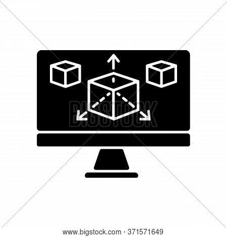 Modeling Black Glyph Icon. Three Dimensional Prototype For Graphic Design Project. Cube In Computer