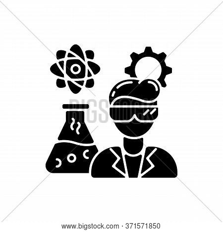 Chemical Engineer Black Glyph Icon. Biochemical Specialist. Professional For Biotechnology Experimen