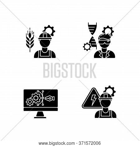 Engineering Career Type Black Glyph Icons Set On White Space. Agricultural Production Specialist. Bi