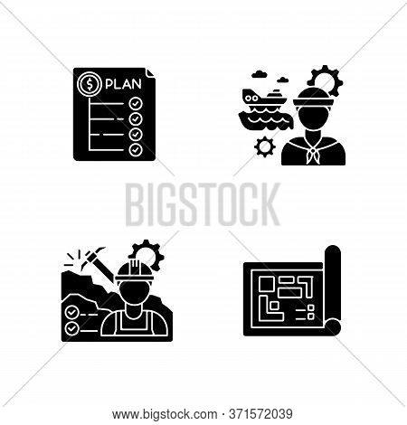 Professional For Engineer Project Black Glyph Icons Set On White Space. Expenditure Plan. Marine Eng