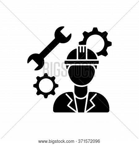 Mechanical Engineer Black Glyph Icon. Professional Repairman. Technician To Work In Facility On Mana