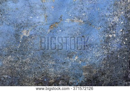 Old Cementy Moldy Blue Wall With Fungus. Abstract Antique Background