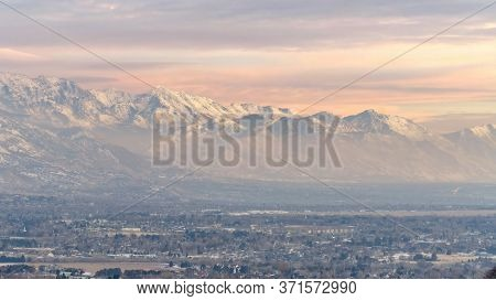 Panorama Stunning Wasatch Mountains And Utah Valley With Houses Dusted With Winter Snow