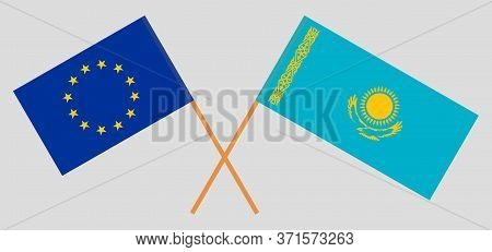 Crossed Flags Of Kazakhstan And The Eu. Official Colors. Correct Proportion. Vector Illustration