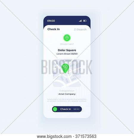 Social Check In App Smartphone Interface Vector Template. Mobile App Page Light Theme Design Layout.