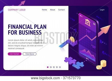 Financial Plan Isometric Landing Page. Mobile Phone Application With Growing Bonds Investment Graphi