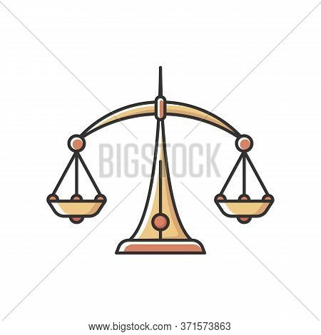 Libra Zodiac Sign Rgb Color Icon. Judicial System, Equilibrium, Horoscope Scales. Balanced Old Fashi