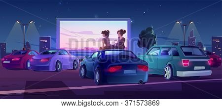 Outdoor Cinema, Drive-in Movie Theater With Cars On Open Air Parking. Vector Cartoon Illustration Of