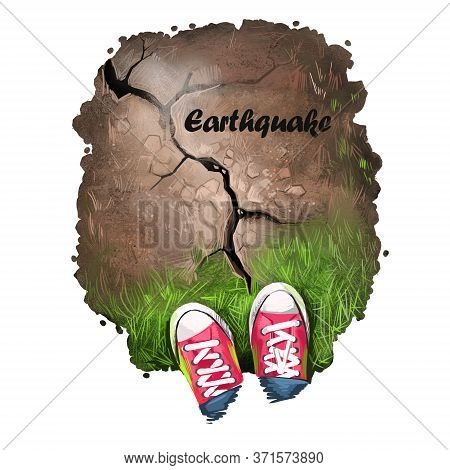 Earthquake Digital Art Illustration Of Natural Disaster. Man Shoes Stand On Cracked Soil, Damaged Ro