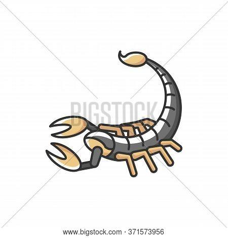 Scorpio Zodiac Sign Rgb Color Icon. Astrological Scorpion. Dangerous Predatory Arachnid. Poisonous A