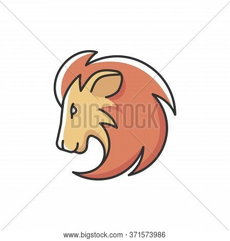Leo Zodiac Sign Rgb Color Icon. Astrology, Horoscope Lion. Exotic Carnivorous Predator, Tropical Zoo