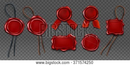 Red Wax Seal Stamp Approval Sealing. Quality Guarantee Blank Retro Postal Label With Ribbon And Rope