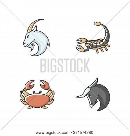 Astrological Signs Rgb Color Icons Set. Goat, Crab, Scorpion And Bull Zodiac. Horoscope Future Predi