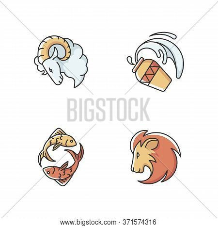 Horoscope Signs Rgb Color Icons Set. Ram, Water Bearer, Lion And Fish Zodiac. Astrological Predictio