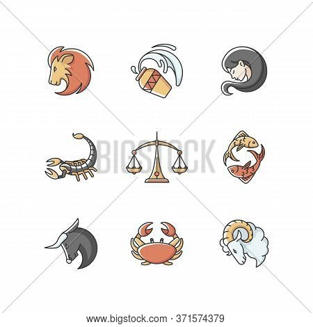 Astrology Signs Rgb Color Icons Set. Different Zodiac Horoscope Fortune Telling. Astrological Future