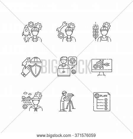 Industrial Production Worker Pixel Perfect Linear Icons Set. Civil Engineering. Expenditure Plan. Cu