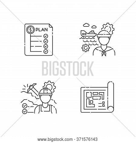 Professional For Engineer Project Pixel Perfect Linear Icons Set. Expenditure Plan. Marine Engineer.