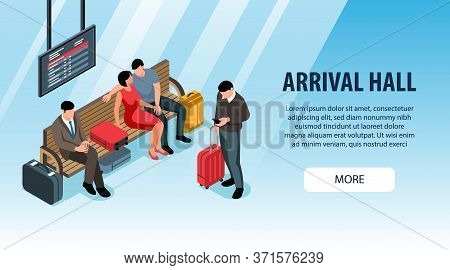 People With Suitcases Waiting At Railway Station Arrival Hall Isometric Banner 3d Vector Illustratio