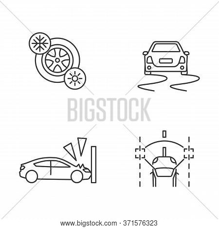Car Security Measures Pixel Perfect Linear Icons Set. Customizable Thin Line Contour Symbols. Tyres,