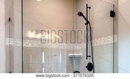 Panorama Shower Stall With Half Glass Enclosure And Black Shower Head And Handle