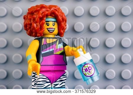 Tambov, Russian Federation - June 04, 2020 Portrait Of Lego Dance Instructor Minifigure With Water B
