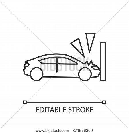 Crash Test Pixel Perfect Linear Icon. Traffic Accident, Car Wreck Thin Line Customizable Illustratio