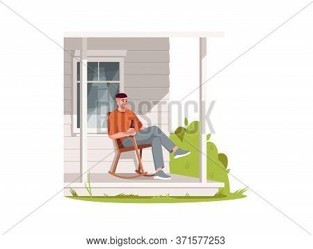 Man Sit In Armchair On Patio Semi Flat Rgb Color Vector Illustration. Rural Lifestyle, Summer Recrea