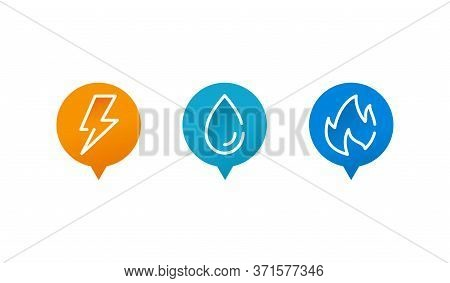 Engineering Infrastructure Public Utilities Icons  - Electrification, Gasification And Water Supply