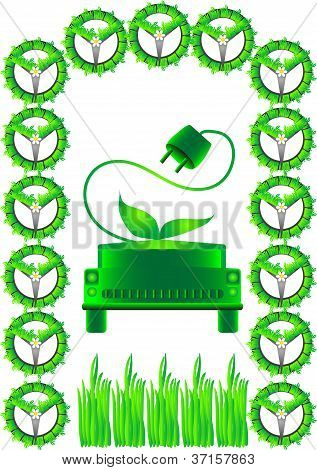 Abstract Green Car