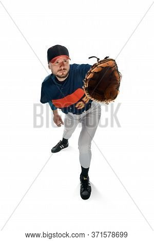 Pitcher Cathes A Ball On White Background