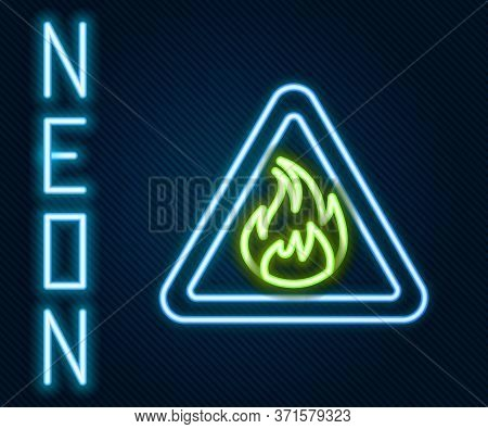 Glowing Neon Line Fire Flame In Triangle Icon Isolated On Black Background. Warning Sign Of Flammabl