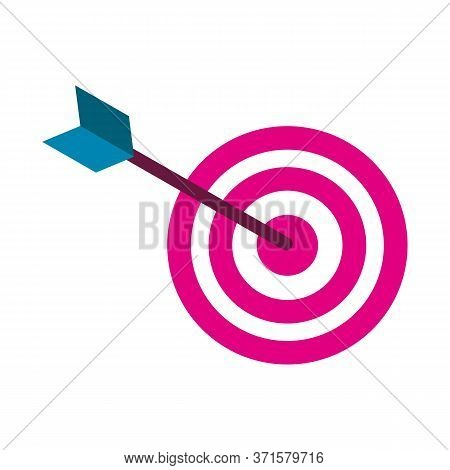 Black Arrow In Center Of Aim, Bullseye. Dart Board With Red Circles Isolated On White Background. Da