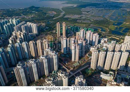 Tin Shui Wai, Hong Kong 04 October 2020: Top view of Hong Kong city