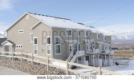 Panorama Frame Peaceful Neighborhood In South Jordan City With View Of Distant Wasatch Mountain