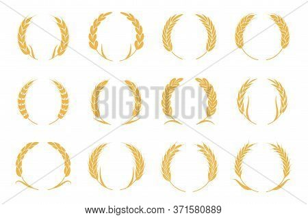 Wheat And Rye Wreaths. Harvest Spike Logo. Gold Elements For Organic Food Logo, Bread Packaging Or B