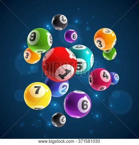 Lottery Numbers. Flying Realistic Drawing Lottery Or Billiard Balls, Lucky Accidental Win, Instant J