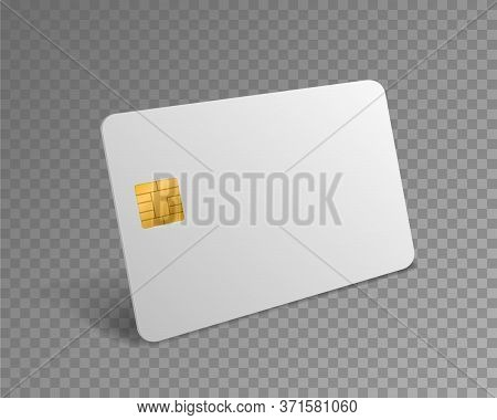 Blank Credit Card. White Realistic Atm Card For Shopping Payments With Gold Chip Mockup. Banking Deb