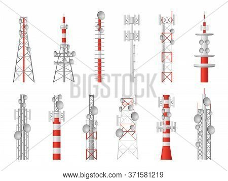Radio Towers. Telecom Masts Broadcast Equipment, Wireless Station Towered Transmitter Satellite Wire