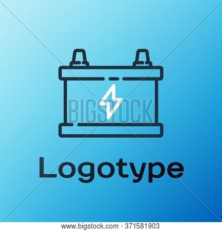 Line Car Battery Icon Isolated On Blue Background. Accumulator Battery Energy Power And Electricity