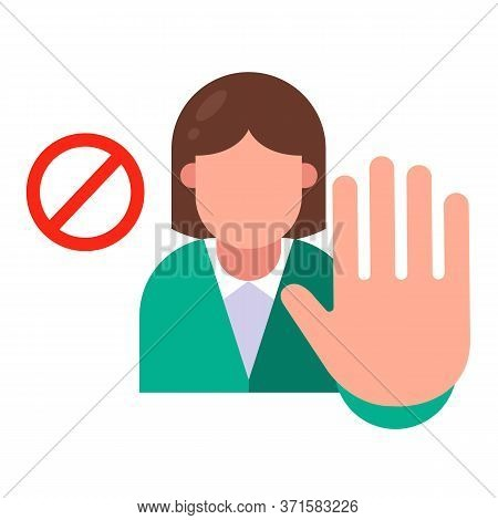 The Girl Says No. Stop Aggression. Flat Character Vector Illustration.