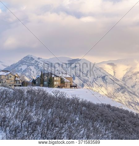 Square Frame Picturesque Wasatch Mountains View With Houses On A Snowy Setting In Winter