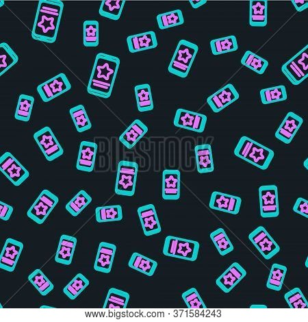 Line Mobile Phone With Review Rating Icon Isolated Seamless Pattern On Black Background. Concept Of