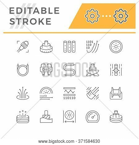 Set Line Icons Of Optical Fiber Isolated On White. Editable Stroke. Cable, Plug, Wire, Cord, Broadba