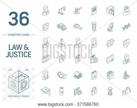 Justice And Law Isometric Line Icons. 3d Vector
