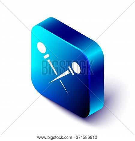 Isometric Knitting Needles Icon Isolated On White Background. Label For Hand Made, Knitting Or Tailo