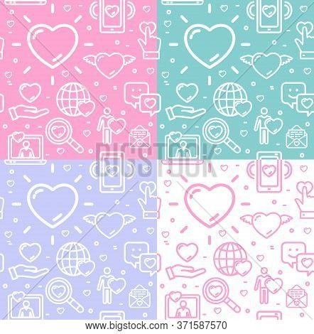 Dating Love Signs Seamless Pattern Background Set For Web And App Design. Vector Illustration Of Lin
