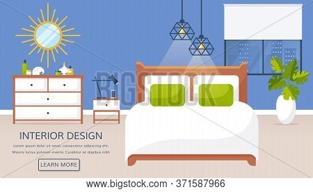 Bedroom Interior. Vector Web Banner With Place For Text. Modern Room Design With Double Bed, Bedside